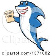 Clipart Of A Shark School Mascot Character Holding A Report Card Royalty Free Vector Illustration