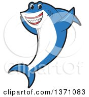 Clipart Of A Shark School Mascot Character Cheering Royalty Free Vector Illustration by Toons4Biz