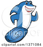 Clipart Of A Shark School Mascot Character Running Royalty Free Vector Illustration by Toons4Biz