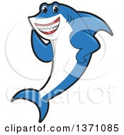 Clipart Of A Shark School Mascot Character Waving Royalty Free Vector Illustration by Toons4Biz