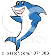 Clipart Of A Shark School Mascot Character Pointing Royalty Free Vector Illustration by Toons4Biz
