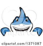 Shark School Mascot Character Looking Over A Sign