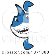 Clipart Of A Shark School Mascot Character Looking Around A Sign Royalty Free Vector Illustration by Toons4Biz