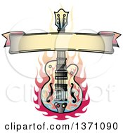 Blank Ribbon Banner And Flaming Guitar Tattoo Design