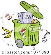 Clipart Of A Cartoon Rolling Trash Bin With Waste All Around And A My Life Book Royalty Free Vector Illustration