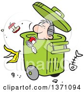 Clipart Of A Cartoon Disposable Man In A Rolling Trash Bin With Waste All Around Royalty Free Vector Illustration