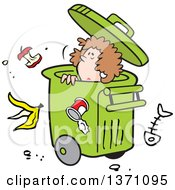Clipart Of A Cartoon Disposable Woman In A Rolling Trash Bin With Waste All Around Royalty Free Vector Illustration