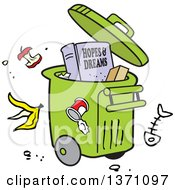 Clipart Of A Cartoon Hopes And Dreams Book In A Rolling Trash Bin With Waste All Around Royalty Free Vector Illustration