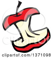 Clipart Of A Cartoon Red Apple Core Royalty Free Vector Illustration