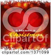 Merry Christmas Greeting Over A Red Heart Flares Snow And Bow