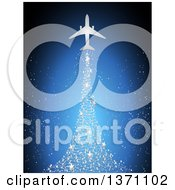 Silhouetted Airplane With A Magical Silver Star Christmas Tree Trail Over Blue
