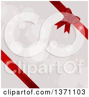 Background Of 3d Red Ribbons And A Gift Bow Over Flares