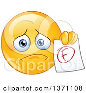Sad Cartoon Yellow Smiley Face Emoticon Emoji Holding Out A Failed Report Card