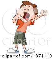 Clipart Of A Cartoon Brunette White Boy Stretching And Yawning Royalty Free Vector Illustration