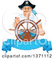 Tough Caucasian Male Pirate Captain Steering At The Helm Over A Blank Blue Ribbon Banner