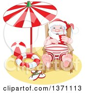 Relaxed Happy Santa Claus Taking A Beach Vacation After Christmas