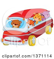 Clipart Of A Cute Baby Bear Cub Driving A Fox Giraffe And Hippo In A Bus Royalty Free Vector Illustration
