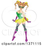 Clipart Of A Sexy Pinup Mardi Gras Jester Girl Dancing Royalty Free Vector Illustration by Pushkin