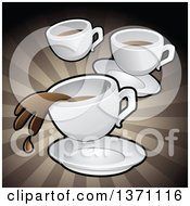 Clipart Of A Background Of Coffee Cups Over Brown Rays Royalty Free Vector Illustration