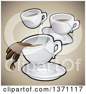 Clipart Of A Background Of Coffee Cups Over Gradient Brown Royalty Free Vector Illustration