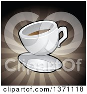 Clipart Of A Coffee Cup Over Brown Rays Royalty Free Vector Illustration by cidepix