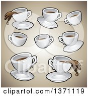 Clipart Of Coffee Cups Over Gradient Brown Royalty Free Vector Illustration by cidepix