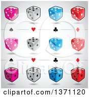 Clipart Of Playing Card Suit Symbols And Dice Over Gradient Gray Royalty Free Vector Illustration by cidepix