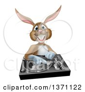 Clipart Of A Happy Brown Bunny Rabbit Dj Over A Turntable Royalty Free Vector Illustration