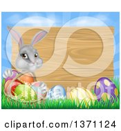 Gray Easter Bunny Rabbit With Eggs And A Basket In Front Of Blank Wood Sign Against Sky