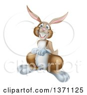 Clipart Of A Happy Brown Bunny Rabbit Royalty Free Vector Illustration