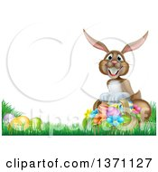 Clipart Of A Brown Bunny Rabbit With A Basket And Easter Eggs In Grass With Text Space Royalty Free Vector Illustration