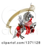 Clipart Of A 3d Fully Armored Medieval Knight On A Rearing White Horse Holding A Spear Flag Royalty Free Vector Illustration