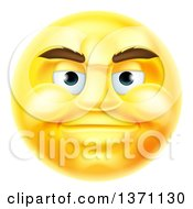 Clipart Of A 3d Yellow Male Smiley Emoji Emoticon Face Royalty Free Vector Illustration