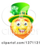 Clipart Of A 3d Yellow St Patricks Day Leprechaun Smiley Emoji Emoticon Face Royalty Free Vector Illustration by AtStockIllustration