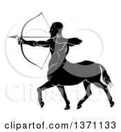 Clipart Of A Black And White Centaur Archer Aiming To The Left Royalty Free Vector Illustration by AtStockIllustration