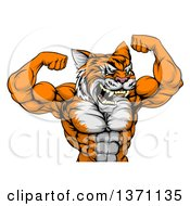 Clipart Of A Vicious Tough Tiger Man Flexing His Big Muscles Royalty Free Vector Illustration