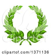 Clipart Of A Round Green Laurel Wreath Of Two Branches Royalty Free Vector Illustration by AtStockIllustration