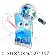 Clipart Of A Sick Smart Phone Character With A Virus Royalty Free Vector Illustration