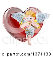 Clipart Of A Happy Blond Caucasian Valentines Day Cupid Aiming An Arrow In Front Of A Shiny Red Heart Royalty Free Vector Illustration