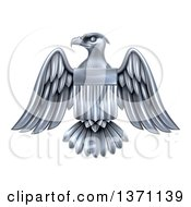 Clipart Of A Silver American Flag Bald Eagle With A Shield Royalty Free Vector Illustration by AtStockIllustration