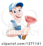 Clipart Of A Middle Aged Brunette White Male Plumber Wearing A Baseball Cap Holding A Plunger Around A Sign Royalty Free Vector Illustration