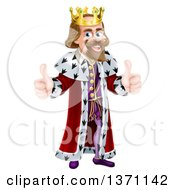 Clipart Of A Caucasian King Giving Two Thumbs Up Royalty Free Vector Illustration by AtStockIllustration