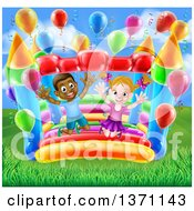 Clipart Of A Cartoon Happy White Girl And Black Boy Jumping On A Bouncy House Castle At A Party Royalty Free Vector Illustration by AtStockIllustration