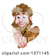 Cartoon Muscular Happy Caveman Holding A Club Around A Sign