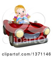 Clipart Of A Happy Blond White Girl Driving A Red Convertible Car Royalty Free Vector Illustration