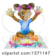 Poster, Art Print Of Cartoon Happy Black Girl Sitting On The Floor And Painting With Her Hands