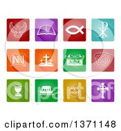 Clipart Of White Christian Icons On Colorful Squares Royalty Free Vector Illustration by AtStockIllustration
