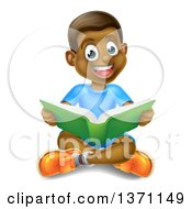 Clipart Of A Happy Black Boy Sitting On The Floor And Reading A Book Royalty Free Vector Illustration by AtStockIllustration