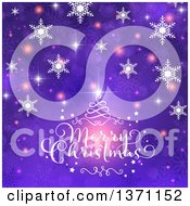 Clipart Of A Merry Christmas Greeting Over Purple With Snowflakes Bokeh Stars And Swirls Royalty Free Vector Illustration