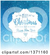 Clipart Of A Merry Christmas And A Happy New Year Greeting Over Blue With Snowflakes Royalty Free Vector Illustration